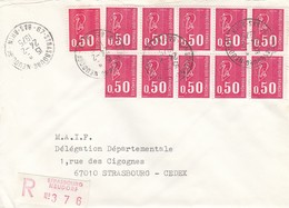 Env Reco Affr Y&T 1664 X 9 Obl STRASBOURG NEUDORF Du 24.2.1975 Adressée à Strasbourg - Elsass-Lothringen