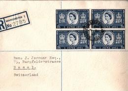 ! 1953 Registered Cover, Manchester, England To Basel Switzerland, QE II., Block Of Four, Viererblock, Nr. 274 - 1952-.... (Elizabeth II)