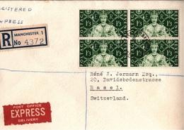 ! 1953 Registered Cover Manchester, England To Basel Switzerland, Queen Elisabeth II., Block Of Four Stamps, Nr. 276 - 1952-.... (Elizabeth II)