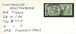 """8 074 2 X Dt. Reich Mi-Nr. 372, Bahnpost """"FINSTERWALDE-SENFTENBERG"""" 1925 - Allemagne"""