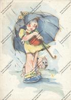 KINDER, Mädchen Mit Schirm Und Hund (Bonzo-ähnlich) - Kinder-Zeichnungen