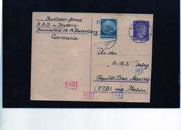 CG6 - Germania - Cartolina Postale - Annullo Di Bludenz 27/5/1943  Per Rep. San Marino - Germany