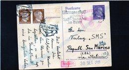 CG6 - Germania - Cartolina Postale - Annullo Di Litzmannstadt 31/8/1943   Per Rep. San Marino - Germany