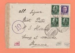 ENVELOPPE ITALIE TOMMASO DE 1944 POUR SAINT HILLIER FRANCE AVEC BANDELETTE DE CENSURE + CACHETS DIVERS A ETUDIER ! - 1944-45 République Sociale