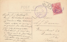 Nederland - 1921 - 5 Cent Bontkraag Op Fotokaart S.S. Insulinde Met Violet GR Postagent Batavia.. Naar Roosendaal - Indes Néerlandaises
