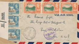 Trinidad / Curacao - 1944 - Gezien ARUBA Censuur In Violet Op Incoming Censored Cover From Claxton Bay To Aruba - Curaçao, Antilles Neérlandaises, Aruba