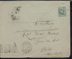 Fr - Affr. Semeuse 15 C Sur Enveloppe De Paris Pour Nîmes, Redirigée Vers Nice - Obl. Drapeau RF Paris Départ 22-2-1906. - Poststempel (Briefe)