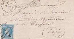 Vincennes ( La V.P. ) S / L Sans Texte + N° 29 Ob étoile Muette 1869 Pour Paris - Marcofilia (sobres)