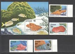 Y706 1986 GRENADA FISH MARINE LIFE SEASHELLS #1485-8 MICHEL 13 EURO BL+SET MNH - Coquillages