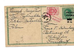 Pol069 / POLEN - P 8 III Mit Zusatzmarke Aufgewertet 1919 Nach Finnland, Mit Zensur - ....-1919 Übergangsregierung