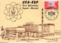 France. Carte Maximum. CEA-EDF. Surgénérateur Phénix. Bagnols Sur Cèze. 21/09/1974 - 1970-1979