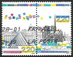 FRANCE  1989 -  YT  2581 Et 2582  Se Tenant  - Grand Louvre Et Notre Dame  -  Oblitérés - France