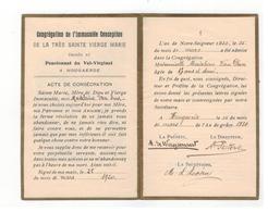 ACTE DE CONSECRATION Hoegaarden HOUGAERDE Mademoiselle Van Dun 1920 - Religion & Esotericism