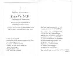 DP Frans Van Molle Geb. Aarschot 1924 Hoogleraar KUL,echtgen. V Anne Gysen,gestorven Heverlee 2003 - Religion & Esotericism