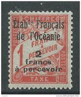 Océanie Taxe N° 8  X  2 F. Sur 1 F. Vermillon Trace De Charnière Sinon TB - Impuestos
