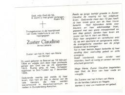 DP Zuster Claudine Anna Liekens Zuster HH Berlaar Geb. Beerzel 1904 ,gestorven  Sint-Truiden  1995 - Religion & Esotericism