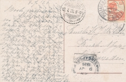 Nederlands Indië - 1926 - 12,5 Cent Wilhelmina Van KB Postagent Batavia-Rotterdam Via Singapore Naar Weltevreden - Netherlands Indies