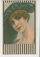 FEMMES - FRAU - LADY  - Jolie Carte Fantaisie Italienne Portrait Femme Avec Chapeau Signée BG - Otros Ilustradores