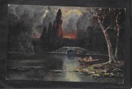 AK 0415  Romatische Bootspartie - Idyllische Abenstimmung / Künstlerkarte Um 1917 - Malerei & Gemälde