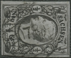 SACHSEN Ca. 1855, Nr. 8I, 1/2 Ngr, SAUBERER  NR-STPL 78 POTSCHAPPEL, CV 13,- - Sachsen