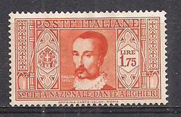 "REGNO D'ITALIA 1932 PRO SOCIETA' ""DANTE ALIGHIERI"" SASS. 311  MLH VF - Nuovi"