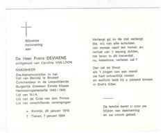 DP Frans DEVIAENE RAADSHEER,geboren Kortrijk1919 ,gestorven Tienen 1994 - Religion & Esotericism
