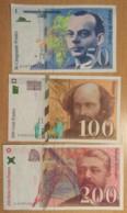 France - 3 Billets 50, 10 Et 200 Francs St Exupéry 1997 F.73, Cézanne 1998 F.74, Eiffel 1996 F.75 - TTB / SUP - 1992-2000 Dernière Gamme