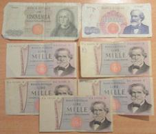 Italie / Italia - 7 Billets 1000 Et 5000 Lire - B à TTB+ - [ 2] 1946-… : République