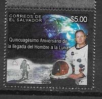 EL SALVADOR, 2019, MNH, SPACE, MOON LANDING, 1v - Espace