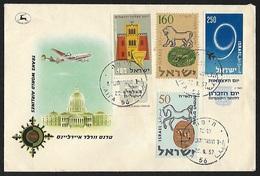 1957 - ISRAEL - Cover [TWA] + Michel 143/146 + HAIFA - Israel