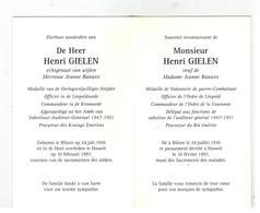 DP Henri GIELEN Oorlogsvrijwilliger, Procureur Des Konings,geboren Bilzen 1910 ,echtg. V Jean.Ranwez Gestorv.Hasselt '97 - Religion & Esotericism