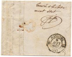 """Cachet Bayonne Juin 1837 Mention Manuscrite """"trouvé à La Boîte Dans Cet état"""" - 1801-1848: Précurseurs XIX"""