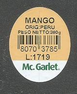 # MANGO McGARLET Peru Type 2 Fruit Label, Etichette Etiquettes Etiquetas Sticker Adhesive America Peru - Fruits & Vegetables