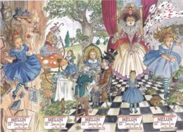 """MELUN MARQUE PAGE MARQUE PAGES 5 Marques Pages Puzzle, Signet, Illustrateur CARMONA """"ALICE AU PAYS DES MERVEILLES"""" - Segnalibri"""