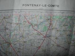 Carte IGN 70 X 55 Cm : FONTENAY -LE- COMTE / Année Mai 1962 / - Cartes Géographiques