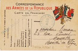 France,  Postes Navales En 1916 , Ligne B  Et Griffe Linéaire Sur Carte Franchise  TB - Poststempel (Briefe)