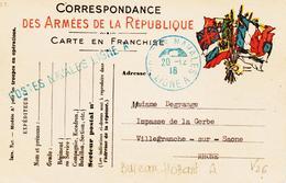 France,  Postes Navales En 1916 , Ligne A  Et Griffe Linéaire Sur Carte Franchise  TB - Poststempel (Briefe)