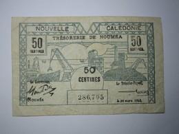 BILLET 50 Centimes NOUVELLE CALÉDONIE 1943 Trésorerie De Nouméa - Nouméa (Nuova Caledonia 1873-1985)
