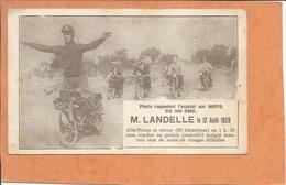 CARTON - Photo Rappelant L'exploit Sur Moto 1928, M.LANDELLE, Alés-Nimes Sans Toucher Au Guidon -Alés - Nimes - MOTO - Ohne Zuordnung