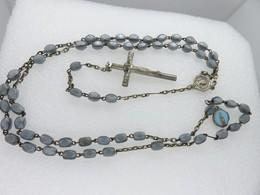 380 - Ancien Chapelet Perles Verre Opaque - Médaille OBC - Méd. émaillée Turquoise - Religion & Esotericism