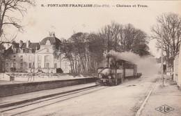 CPA:TRAIN CHÂTEAU ET TRAM À FONTAINE FRANÇAISE (21)..ÉCRITE - Other Municipalities
