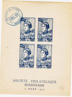 France , Vignette De Rouen , Journée Du Timbre 1939 ( Bleue) Jeanne D'Arc  TB - Erinnophilie