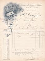 """Fattura Comm. ,  Anno 1912   -   Fabbrica Di Ventagli   E  Schermi """" H.te  Templier """", Paris - Francia"""