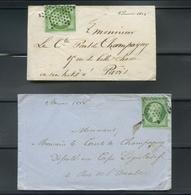 2 Enveloppes 1853-60 Emission Empire Napoléon III Non Dentelé 5c Vert Jaune Et 5c. Vert Fonce. - 1849-1876: Période Classique