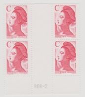 FRANCE 1990 Bloc De 4 Timbres Type Liberté De Gandon Lettre C Rouge N°YT N°2616 Neuf - Neufs