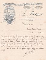 """Fattura Comm. ,  Anno 1891 - Importazione Esportazione Di Arance, Limoni E Mandarini """" A. Bernat """", Cette - Alimentare"""