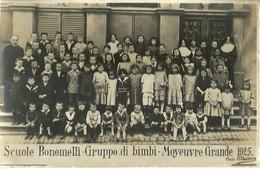 """6475 """" SCUOLE BONOMELLI-GRUPPO DI BIMBI-MOYEUVRE GRANDE 1925"""" - FOTOCARTOLINA ORIGINALE - Anonieme Personen"""