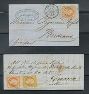 Lettre Et Devant 1853-60 Emission Empire Napoléon III Non Dentelé Roulette De Petit Points Et Cercle 3310 - 1849-1876: Période Classique