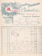 "Fattura Comm. ,  Anno 1913  -  Au  Chapeau  Rouge , Grande Teinturerie  "" Chatard, Succ.r "" , Clermont-Ferrand - Francia"