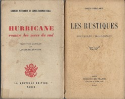 Lot De 2 Livres Hurricane Roman Des Mers Du Sud  De 1946 Et  Les Rustiques Nouvelles Villageoises  Edition Mercure 1945 - Klassieke Auteurs